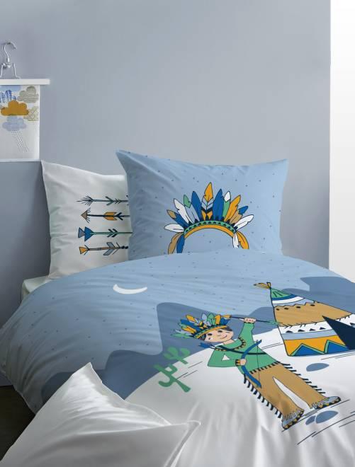 Parure de lit r versible 39 petit indien 39 linge de lit for Parure de lit bleu et blanc