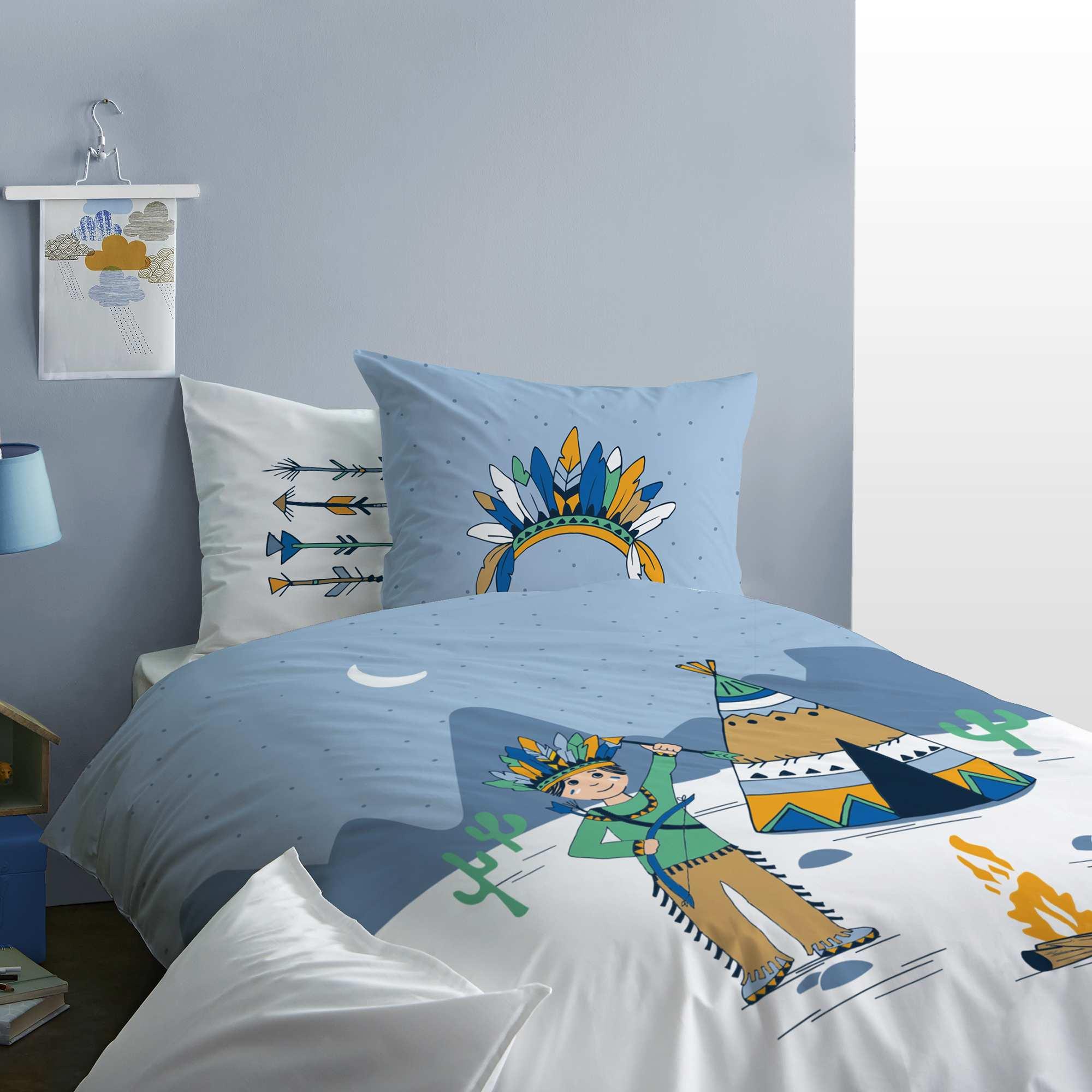 parure de lit r versible 39 petit indien 39 linge de lit blanc bleu kiabi 27 00. Black Bedroom Furniture Sets. Home Design Ideas