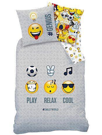 Maison - Parure de lit réversible 'Smiley World' - Kiabi