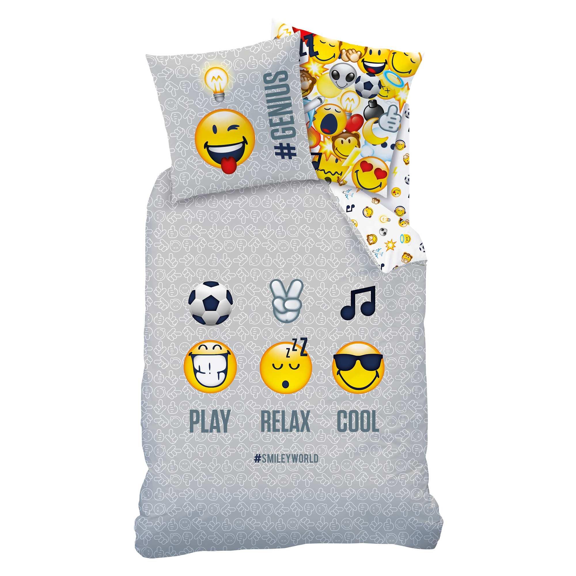 parure de lit r versible 39 smiley world 39 linge de lit gris kiabi 35 00. Black Bedroom Furniture Sets. Home Design Ideas