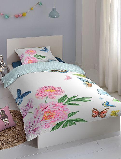 Parure de lit une personne à fleurs                             blanc