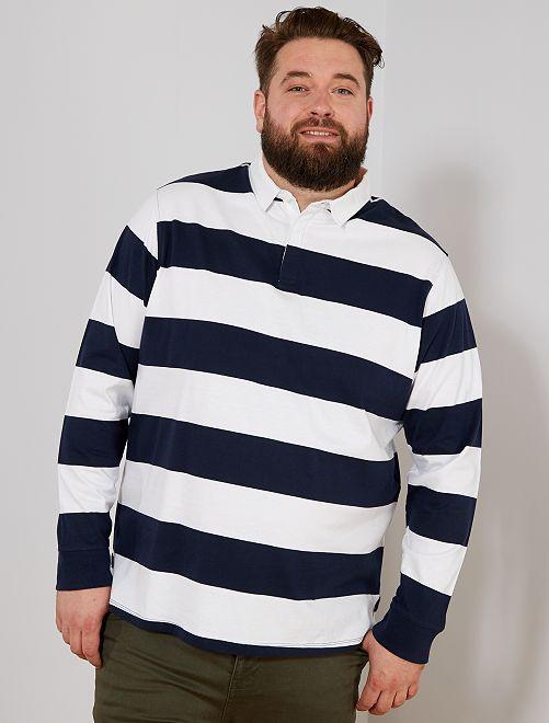 Polo rayé esprit rugby                                                                 blanc/bleu marine