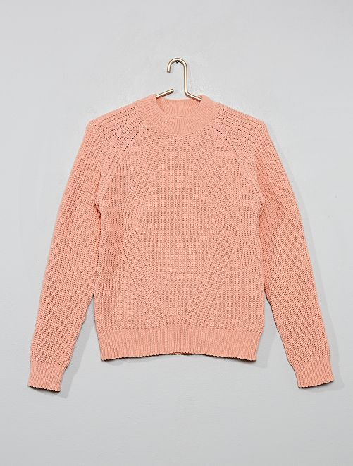 Pull chenille col montant                     rose