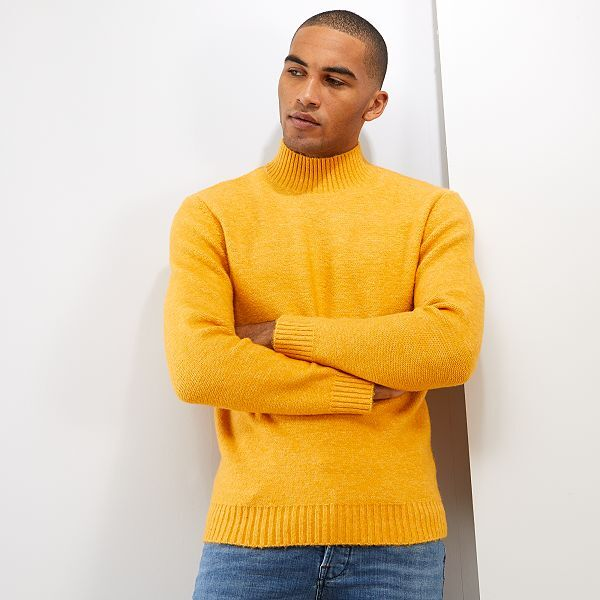 Pull col montant Homme - jaune - Kiabi -