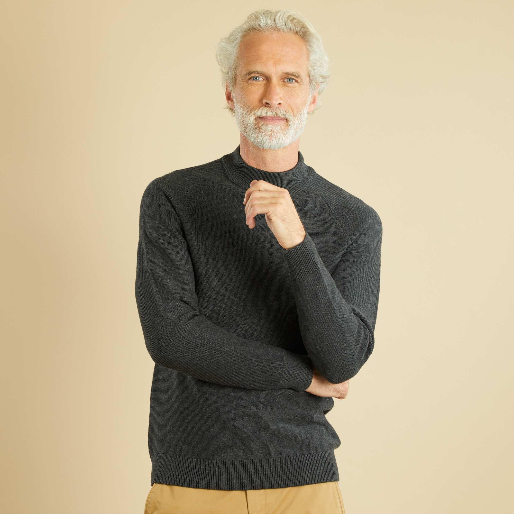 pull col montant point fantaisie homme gris kiabi 19 00. Black Bedroom Furniture Sets. Home Design Ideas