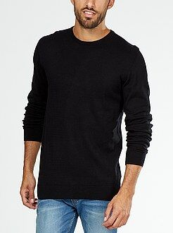 Pull col rond maille fine jauge