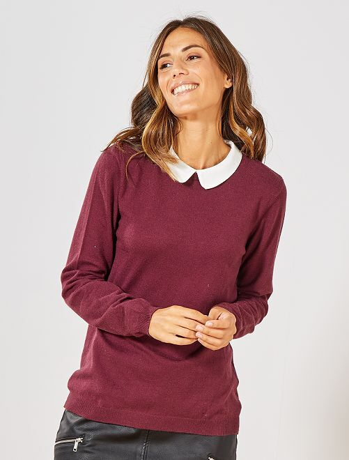 Pull fin col Claudine                                             rouge bordeaux