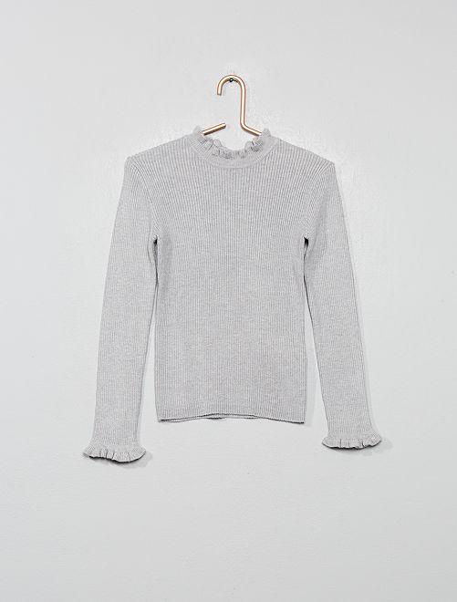 Pull fin côtelé                                                     gris