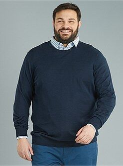 Grande taille homme - Pull fine jauge pur coton - Kiabi