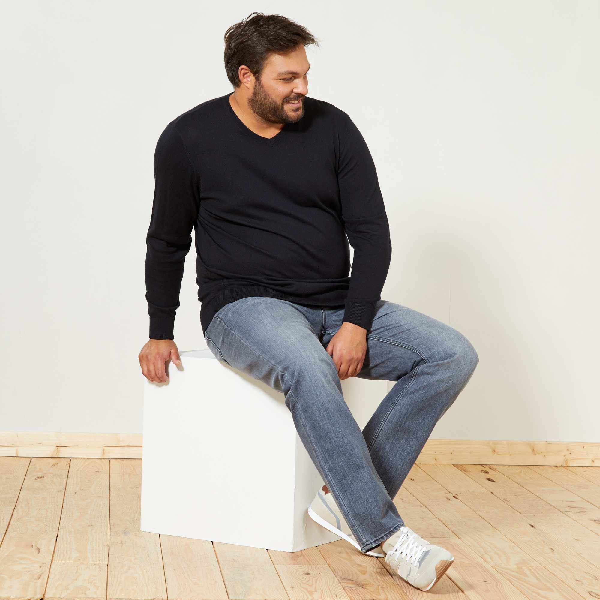 pull l ger col v grande taille homme kiabi 15 00. Black Bedroom Furniture Sets. Home Design Ideas