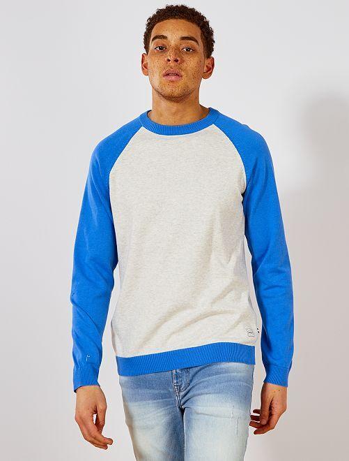 Pull léger raglan bicolore 'Produkt'                                                     bleu/écru Homme