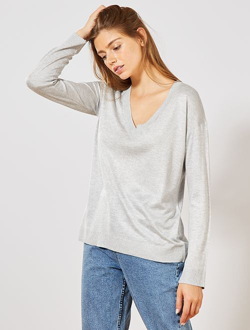 Pull oversize col V                                                                                                                     gris chiné