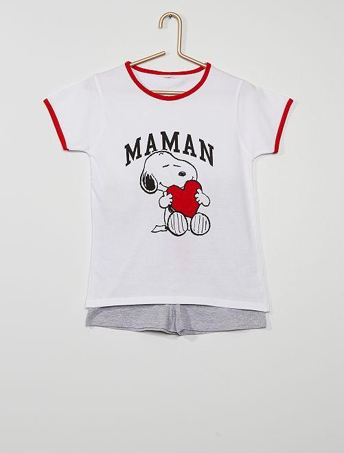 Pyjama 2 pièces 'Snoopy' 'Maman'                             blanc
