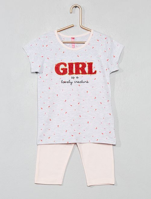 Pyjama animation bouclette                             gris/rose Fille