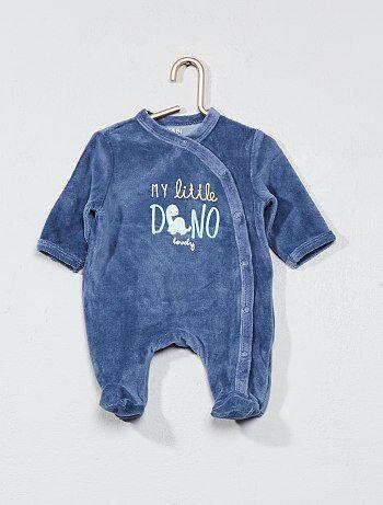 Pyjama brodé en velours - Kiabi