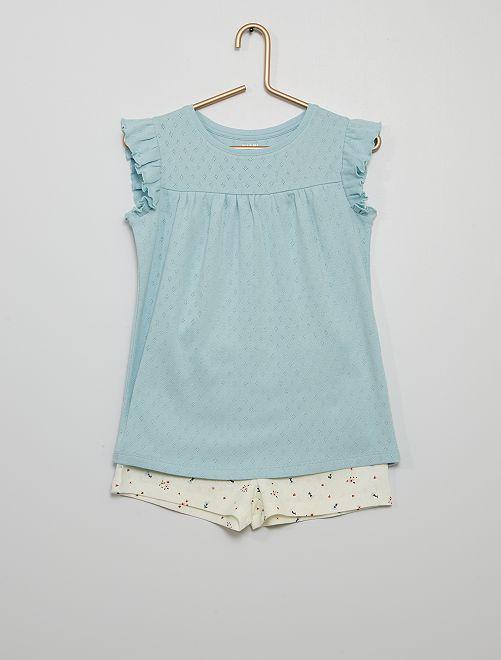Pyjama court en coton                                         bleu