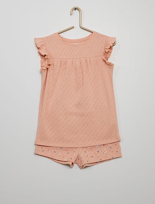 Pyjama court en coton                                         rose