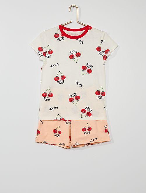 Pyjama court imprimé                                         blanc/rose