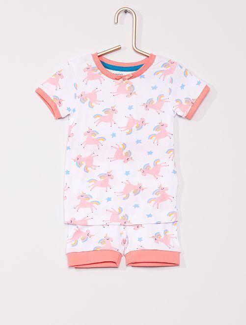 Pyjama court Minoti                             blanc/rose