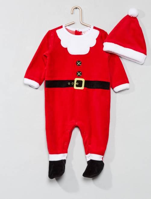 pyjama de no l en velours b b gar on rouge kiabi 14 00. Black Bedroom Furniture Sets. Home Design Ideas