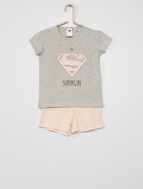 Pyjama deux pièces 'Supergirl' 'DC Comics'                             rose/gris