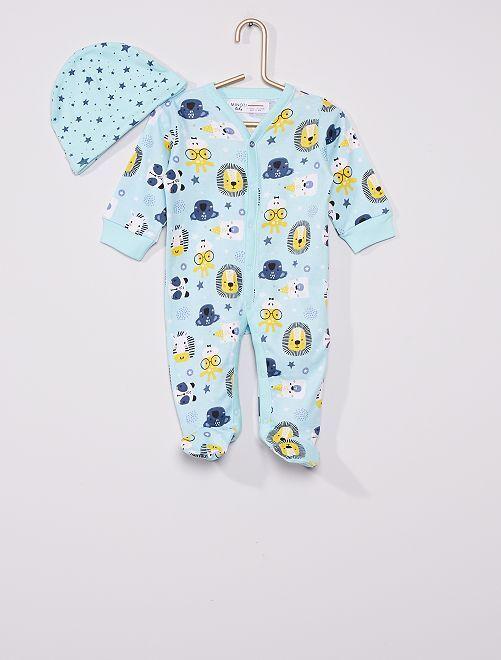 Pyjama en coton + bonnet 'Animaux'                             bleu