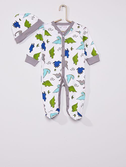 Pyjama en coton + bonnet 'Dinosaure'                             gris