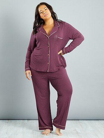 Grande taille femme - Pyjama en jersey imprimé cravate - Kiabi