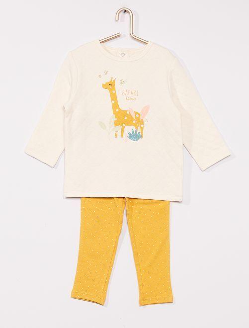 Pyjama en molleton éco-conçu                             blanc/jaune