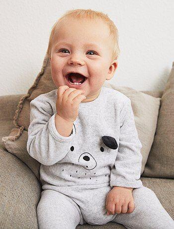 Pyjama en velours avec imprimé - Kiabi