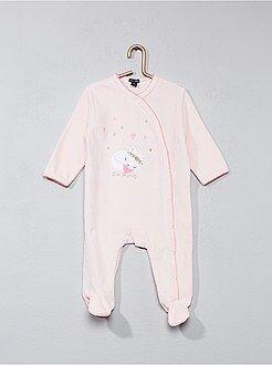 Fille 0-36 mois Pyjama en velours imprimé chat