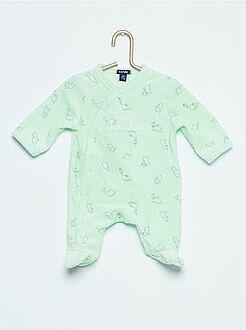 Pyjama, peignoir - Pyjama en velours imprimé 'dinosaure'