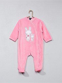 Pyjama en velours imprimé lapin