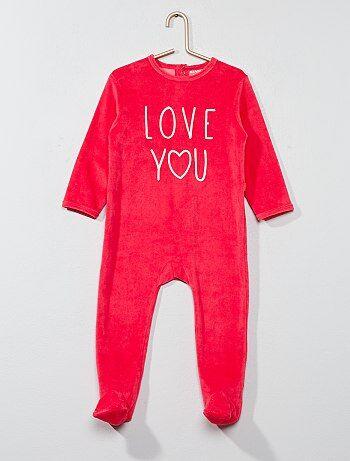 Pyjama en velours imprimé message - Kiabi