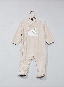 Pyjama - Pyjama en velours imprimé 'ours'