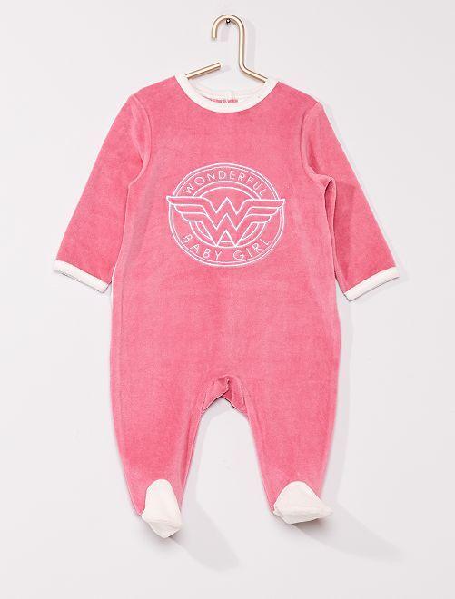 Pyjama en velours 'Wonder Woman' de 'DC Comics'                             rose/blanc