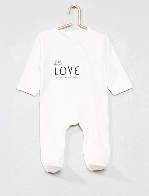Pyjama imprimé en coton biologique                                 ecru/noir love Bébé fille