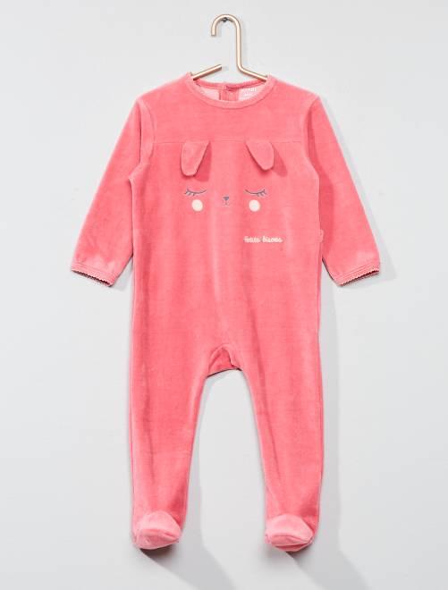 pyjama imprim en velours b b fille rose lapin kiabi. Black Bedroom Furniture Sets. Home Design Ideas