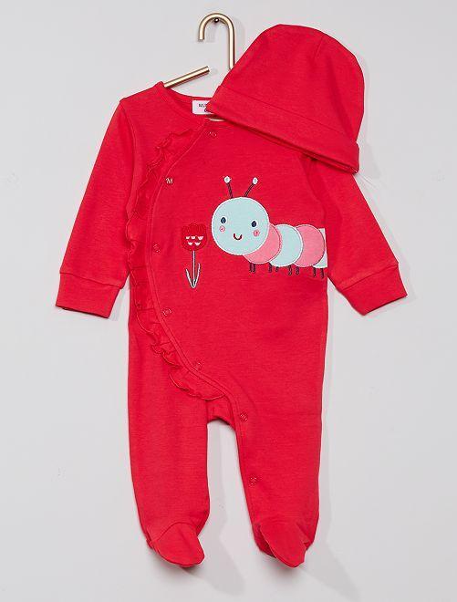 Pyjama interlock+ bonnet                             rose