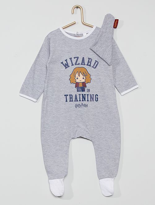 Pyjama jersey + bavoir 'Harry Potter'                             gris