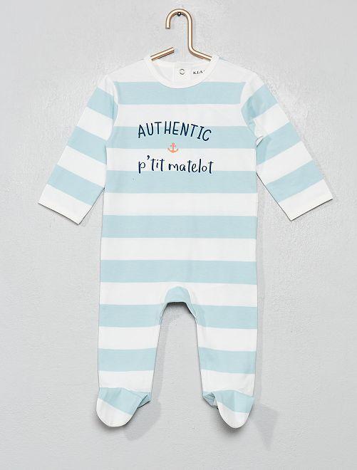 Pyjama jersey                                                                                         blanc/bleu/matelot