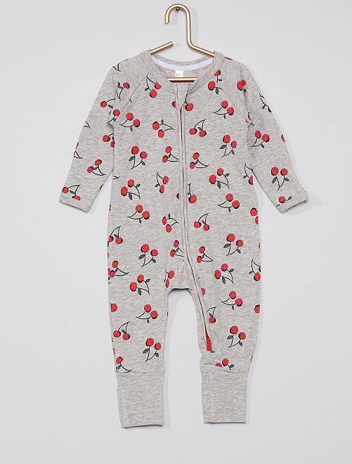 Pyjama jersey zippé 'DIM'                                                     gris