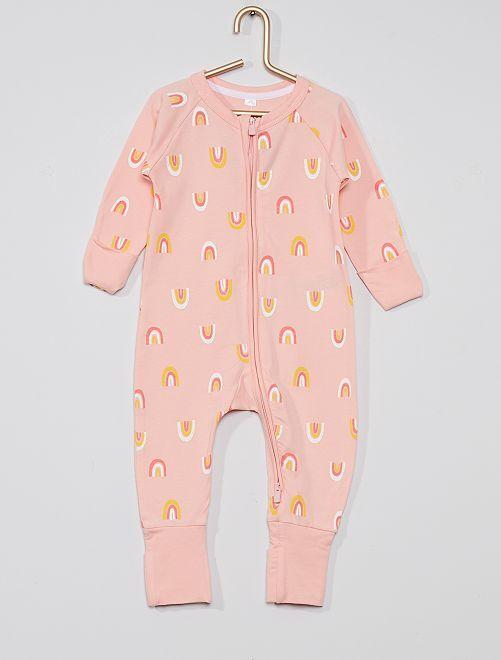 Pyjama jersey zippé 'DIM'                                                     rose clair