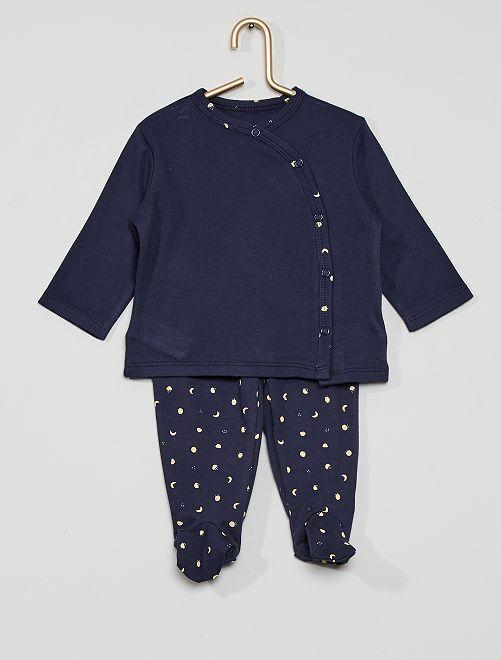 Pyjama long 2 pièces  éco-conçu                                                                 marine