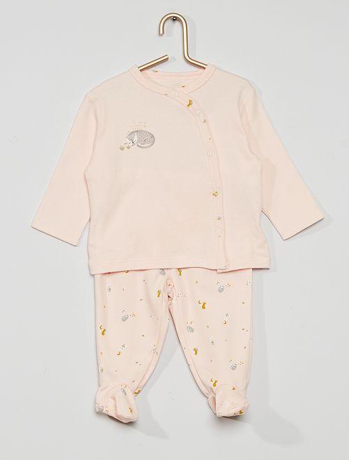 Pyjama long 2 pièces  éco-conçu                                                                 rose