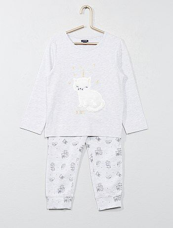 Fille 3-12 ans - Pyjama long animation chat - Kiabi