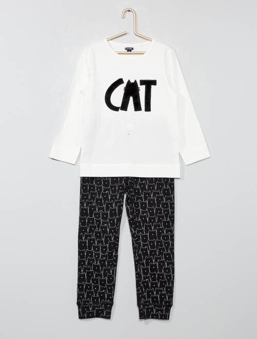 Pyjama long animation chat NOIR Fille
