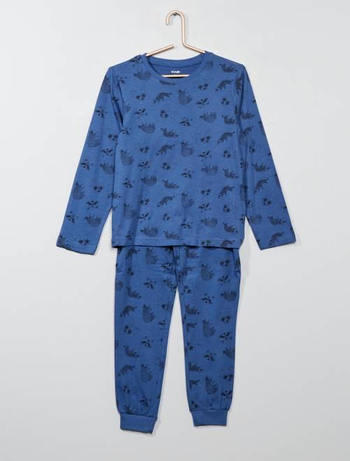 Pyjama long avec imprimé                                                                                         bleu Garçon