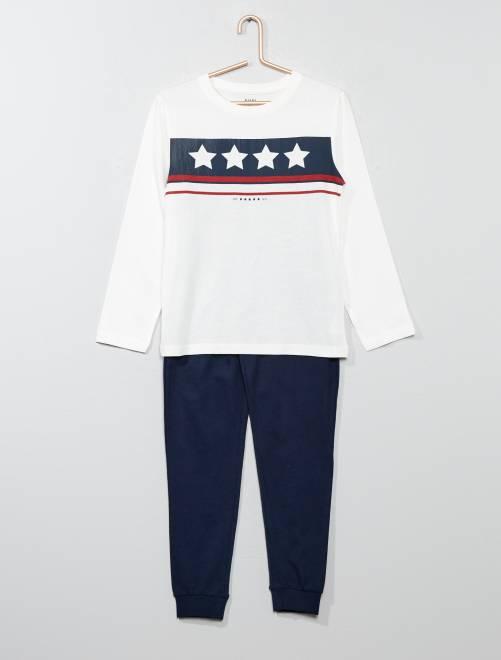 Pyjama long avec imprimé                                 bleu/blanc Garçon