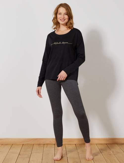 Pyjama long brodé 'Minnie Mouse'                                         noir/gris Lingerie du s au xxl
